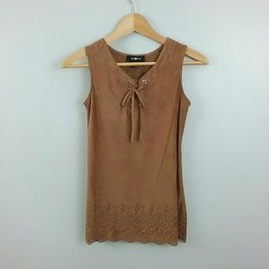 Amy Byer//Faux Suede Top